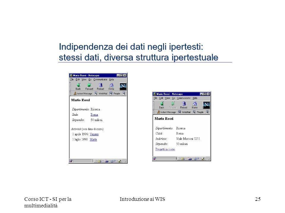Corso ICT - SI per la multimedialità Introduzione ai WIS25