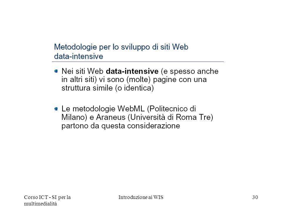 Corso ICT - SI per la multimedialità Introduzione ai WIS30