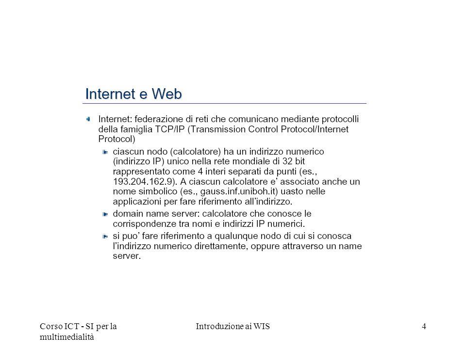Corso ICT - SI per la multimedialità Introduzione ai WIS4
