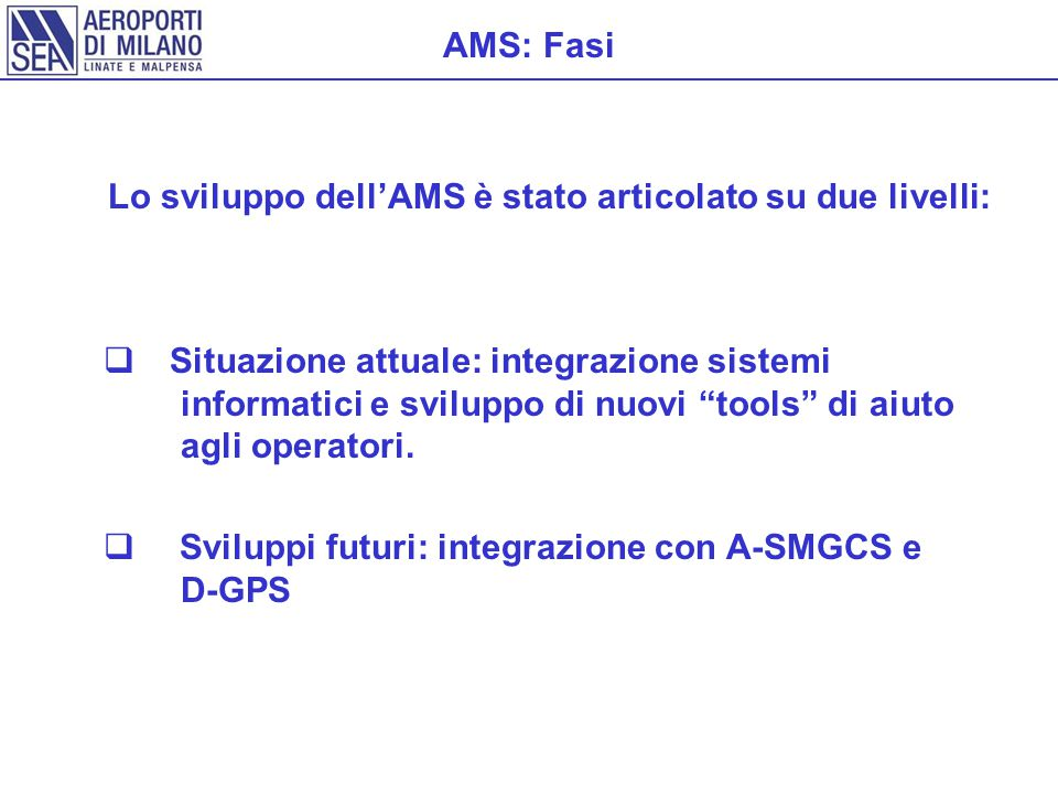 AMS: Fasi  Situazione attuale: integrazione sistemi informatici e sviluppo di nuovi tools di aiuto agli operatori.