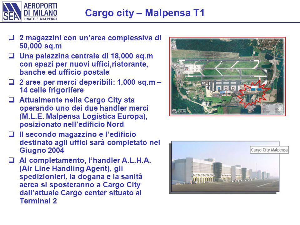 Cargo city – Malpensa T1  2 magazzini con un'area complessiva di 50,000 sq.m  Una palazzina centrale di 18,000 sq.m con spazi per nuovi uffici,ristorante, banche ed ufficio postale  2 aree per merci deperibili: 1,000 sq.m – 14 celle frigorifere  Attualmente nella Cargo City sta operando uno dei due handler merci (M.L.E.