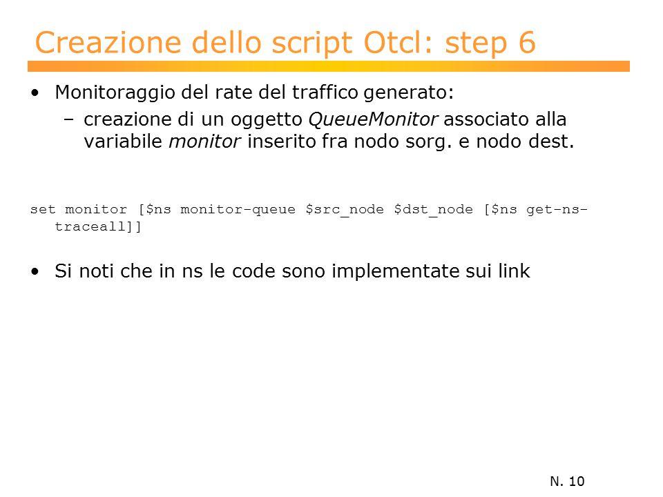 N. 10 Creazione dello script Otcl: step 6 Monitoraggio del rate del traffico generato: –creazione di un oggetto QueueMonitor associato alla variabile