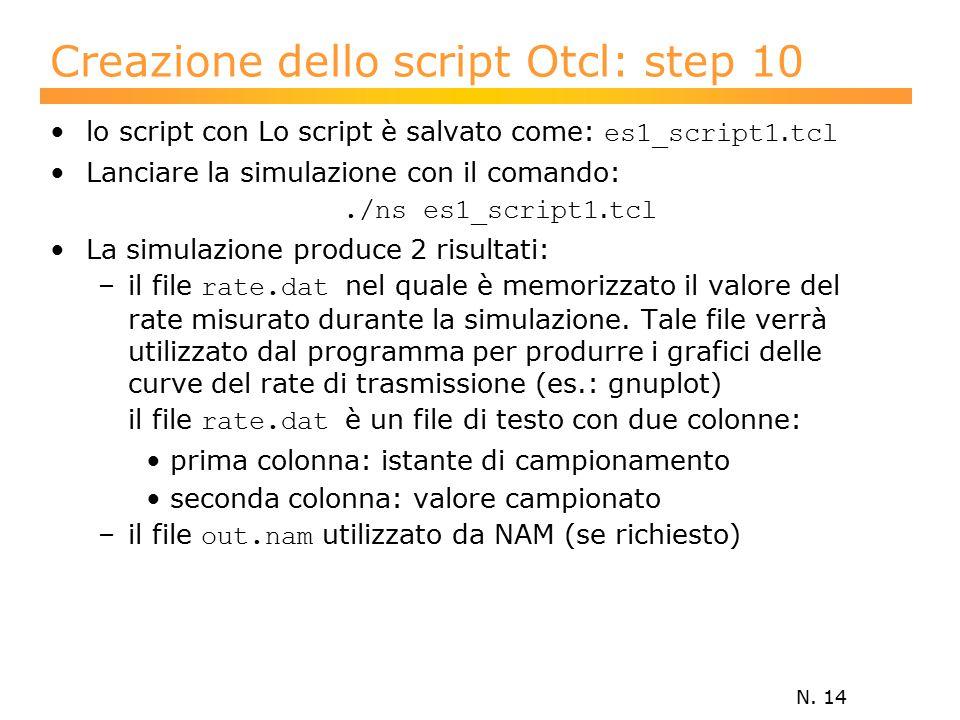 N. 14 Creazione dello script Otcl: step 10 lo script con Lo script è salvato come: es1_script1.