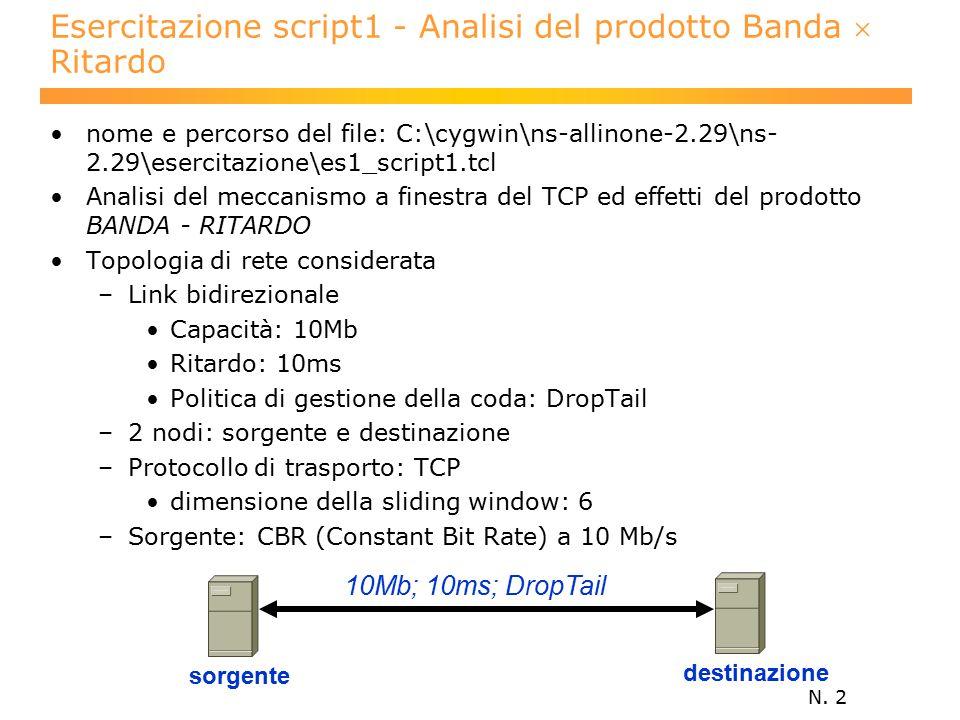 N. 2 Esercitazione script1 - Analisi del prodotto Banda  Ritardo nome e percorso del file: C:\cygwin\ns-allinone-2.29\ns- 2.29\esercitazione\es1_scri
