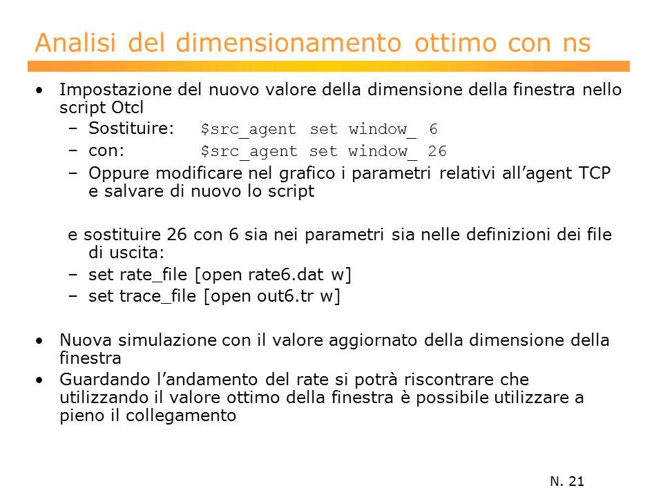 N. 21 Analisi del dimensionamento ottimo con ns Impostazione del nuovo valore della dimensione della finestra nello script Otcl –Sostituire: $src_agen
