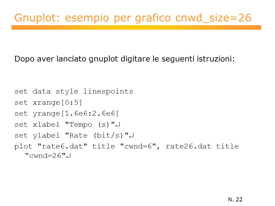 N. 22 Gnuplot: esempio per grafico cnwd_size=26 Dopo aver lanciato gnuplot digitare le seguenti istruzioni: set data style linespoints set xrange[0:5]