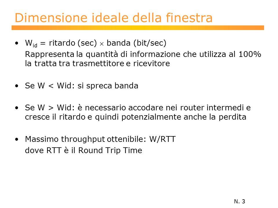 N. 3 Dimensione ideale della finestra W id = ritardo (sec)  banda (bit/sec) Rappresenta la quantità di informazione che utilizza al 100% la tratta tr