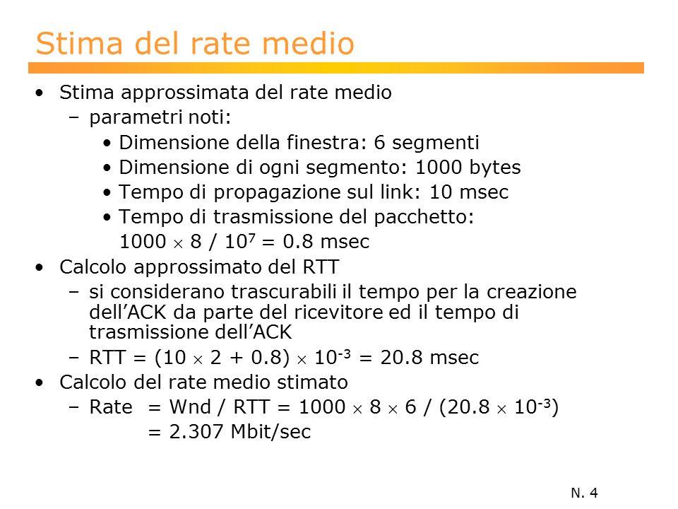 N. 4 Stima del rate medio Stima approssimata del rate medio –parametri noti: Dimensione della finestra: 6 segmenti Dimensione di ogni segmento: 1000 b