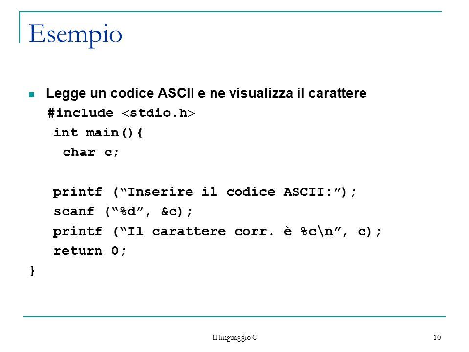 """10 Esempio Legge un codice ASCII e ne visualizza il carattere #include  stdio.h  int main(){ char c; printf (""""Inserire il codice ASCII:""""); scanf (""""%"""