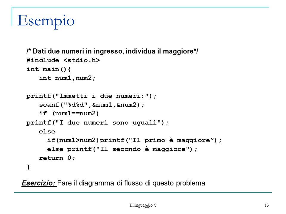 Il linguaggio C 13 Esempio /* Dati due numeri in ingresso, individua il maggiore*/ #include int main(){ int num1,num2; printf(