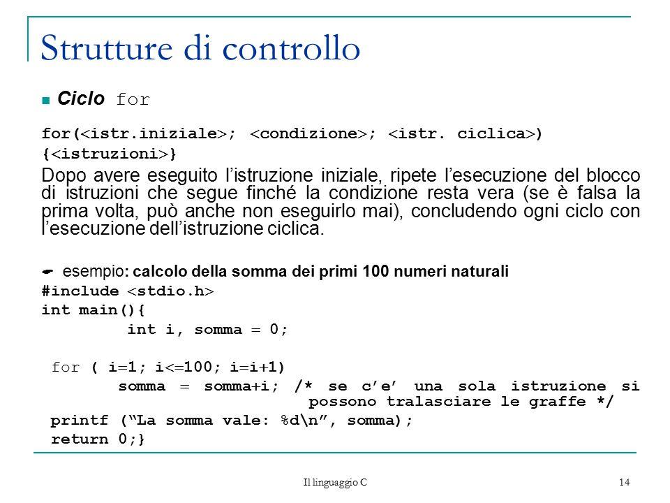 Il linguaggio C 14 Strutture di controllo Ciclo for for(  istr.iniziale  ;  condizione  ;  istr. ciclica  ) {  istruzioni  } Dopo avere esegui