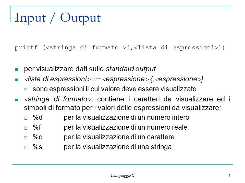 Il linguaggio C 4 Input / Output printf (  stringa di formato  [,  lista di espressioni  ]) per visualizzare dati sullo standard output  lista di
