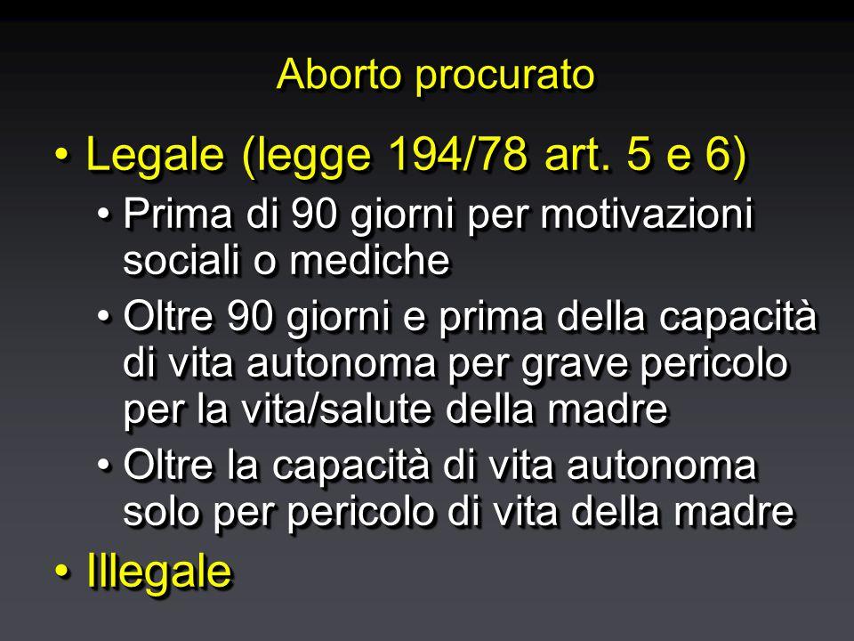 Aborto procurato Legale (legge 194/78 art. 5 e 6)Legale (legge 194/78 art.