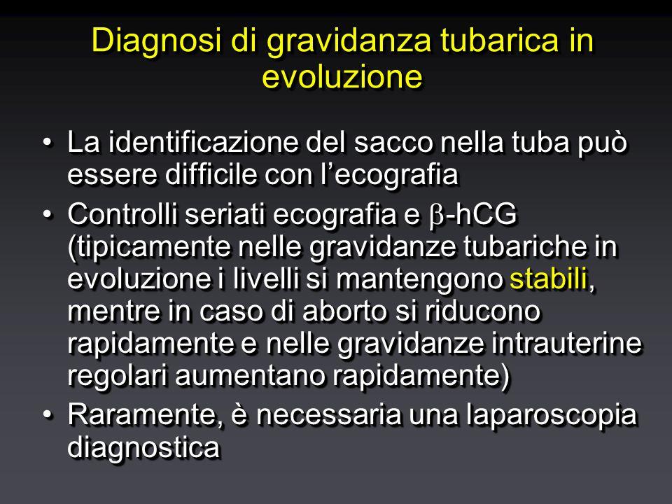 Diagnosi di gravidanza tubarica in evoluzione La identificazione del sacco nella tuba può essere difficile con l'ecografiaLa identificazione del sacco nella tuba può essere difficile con l'ecografia Controlli seriati ecografia e  -hCG (tipicamente nelle gravidanze tubariche in evoluzione i livelli si mantengono stabili, mentre in caso di aborto si riducono rapidamente e nelle gravidanze intrauterine regolari aumentano rapidamente)Controlli seriati ecografia e  -hCG (tipicamente nelle gravidanze tubariche in evoluzione i livelli si mantengono stabili, mentre in caso di aborto si riducono rapidamente e nelle gravidanze intrauterine regolari aumentano rapidamente) Raramente, è necessaria una laparoscopia diagnosticaRaramente, è necessaria una laparoscopia diagnostica La identificazione del sacco nella tuba può essere difficile con l'ecografiaLa identificazione del sacco nella tuba può essere difficile con l'ecografia Controlli seriati ecografia e  -hCG (tipicamente nelle gravidanze tubariche in evoluzione i livelli si mantengono stabili, mentre in caso di aborto si riducono rapidamente e nelle gravidanze intrauterine regolari aumentano rapidamente)Controlli seriati ecografia e  -hCG (tipicamente nelle gravidanze tubariche in evoluzione i livelli si mantengono stabili, mentre in caso di aborto si riducono rapidamente e nelle gravidanze intrauterine regolari aumentano rapidamente) Raramente, è necessaria una laparoscopia diagnosticaRaramente, è necessaria una laparoscopia diagnostica