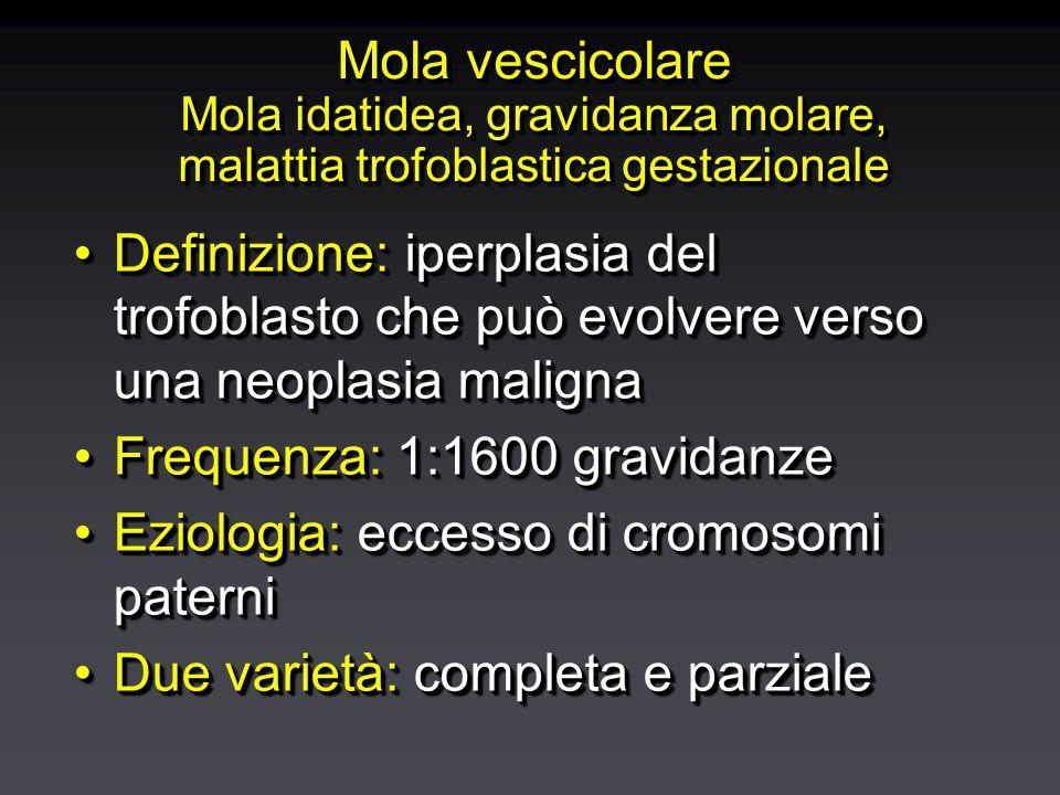 Mola vescicolare Mola idatidea, gravidanza molare, malattia trofoblastica gestazionale Definizione: iperplasia del trofoblasto che può evolvere verso una neoplasia malignaDefinizione: iperplasia del trofoblasto che può evolvere verso una neoplasia maligna Frequenza: 1:1600 gravidanzeFrequenza: 1:1600 gravidanze Eziologia: eccesso di cromosomi paterniEziologia: eccesso di cromosomi paterni Due varietà: completa e parzialeDue varietà: completa e parziale Definizione: iperplasia del trofoblasto che può evolvere verso una neoplasia malignaDefinizione: iperplasia del trofoblasto che può evolvere verso una neoplasia maligna Frequenza: 1:1600 gravidanzeFrequenza: 1:1600 gravidanze Eziologia: eccesso di cromosomi paterniEziologia: eccesso di cromosomi paterni Due varietà: completa e parzialeDue varietà: completa e parziale