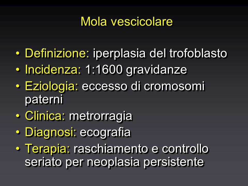 Mola vescicolare Definizione: iperplasia del trofoblastoDefinizione: iperplasia del trofoblasto Incidenza: 1:1600 gravidanzeIncidenza: 1:1600 gravidanze Eziologia: eccesso di cromosomi paterniEziologia: eccesso di cromosomi paterni Clinica: metrorragiaClinica: metrorragia Diagnosi: ecografiaDiagnosi: ecografia Terapia: raschiamento e controllo seriato per neoplasia persistenteTerapia: raschiamento e controllo seriato per neoplasia persistente Definizione: iperplasia del trofoblastoDefinizione: iperplasia del trofoblasto Incidenza: 1:1600 gravidanzeIncidenza: 1:1600 gravidanze Eziologia: eccesso di cromosomi paterniEziologia: eccesso di cromosomi paterni Clinica: metrorragiaClinica: metrorragia Diagnosi: ecografiaDiagnosi: ecografia Terapia: raschiamento e controllo seriato per neoplasia persistenteTerapia: raschiamento e controllo seriato per neoplasia persistente