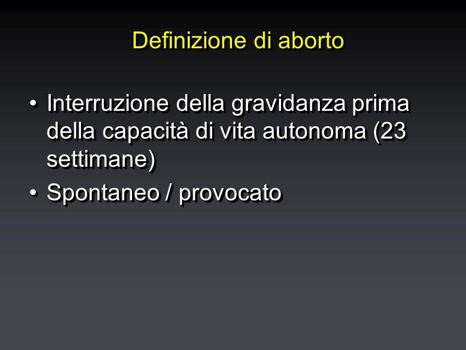 Incidenza dell'aborto spontaneo: perdite fetali in funzione dell'epoca di gravidanza preclinichecliniche Eco BCF> 16 sett %