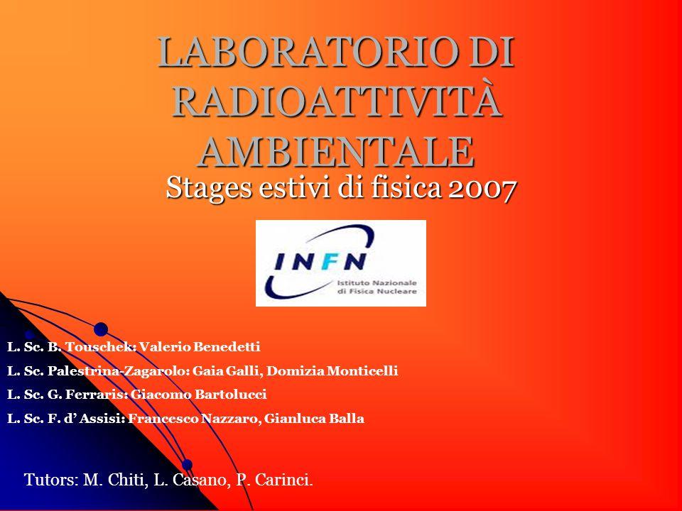 LABORATORIO DI RADIOATTIVITÀ AMBIENTALE Stages estivi di fisica 2007 L.