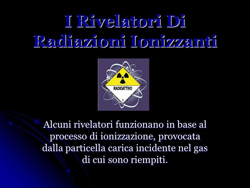 I Rivelatori Di Radiazioni Ionizzanti Alcuni rivelatori funzionano in base al processo di ionizzazione, provocata dalla particella carica incidente nel gas di cui sono riempiti.