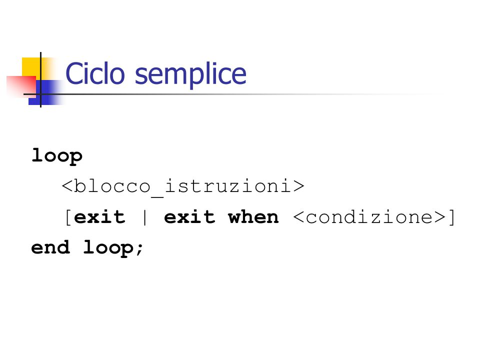 Ciclo semplice loop [exit | exit when ] end loop;