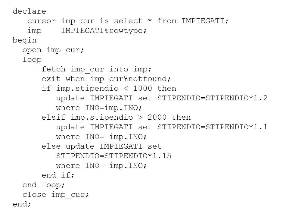 declare cursor imp_cur is select * from IMPIEGATI; imp IMPIEGATI%rowtype; begin open imp_cur; loop fetch imp_cur into imp; exit when imp_cur%notfound; if imp.stipendio < 1000 then update IMPIEGATI set STIPENDIO=STIPENDIO*1.2 where INO=imp.INO; elsif imp.stipendio > 2000 then update IMPIEGATI set STIPENDIO=STIPENDIO*1.1 where INO= imp.INO; else update IMPIEGATI set STIPENDIO=STIPENDIO*1.15 where INO= imp.INO; end if; end loop; close imp_cur; end;