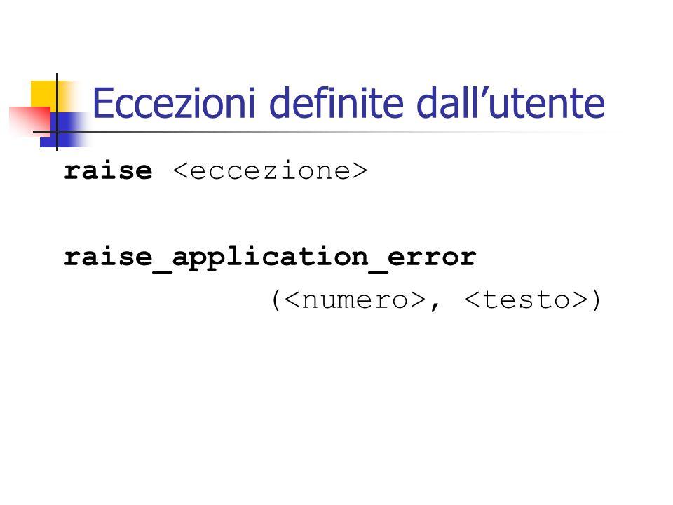 Eccezioni definite dall'utente raise raise_application_error (, )