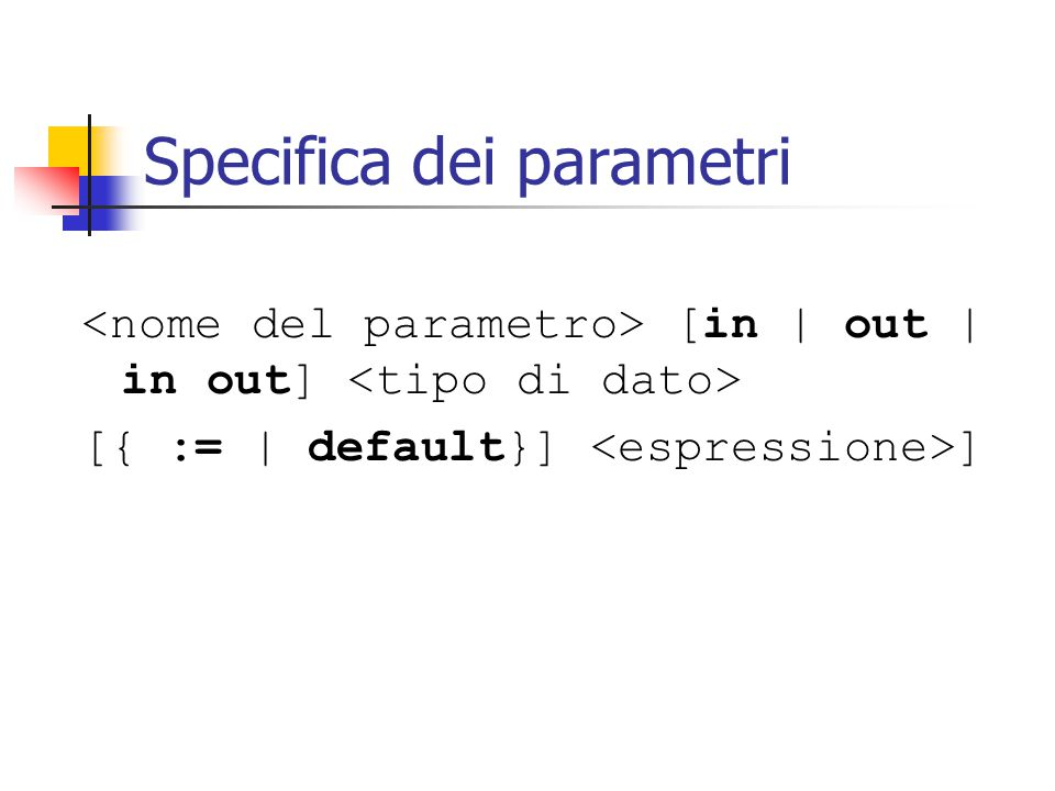 Specifica dei parametri [in   out   in out] [{ :=   default}] ]