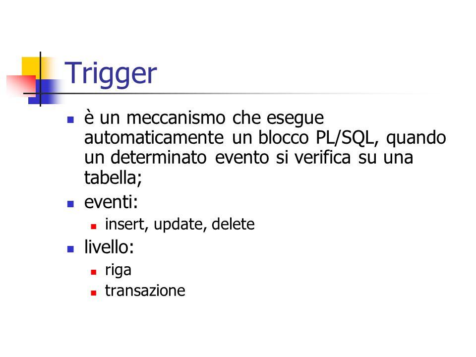 Trigger è un meccanismo che esegue automaticamente un blocco PL/SQL, quando un determinato evento si verifica su una tabella; eventi: insert, update, delete livello: riga transazione