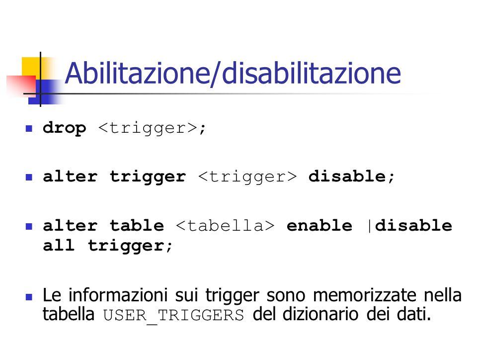 Abilitazione/disabilitazione drop ; alter trigger disable; alter table enable |disable all trigger; Le informazioni sui trigger sono memorizzate nella tabella USER_TRIGGERS del dizionario dei dati.