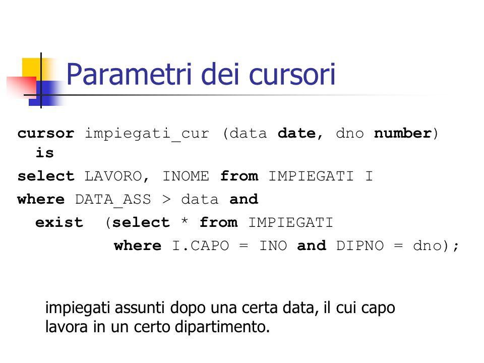 Modifiche tramite cursore cursor impiegati_cur (data date, dno number) is select LAVORO, INOME from IMPIEGATI I where DATA_ASS > data and exist (select * from IMPIEGATI where I.CAPO = INO and DIPNO = dno) for update of LAVORO;