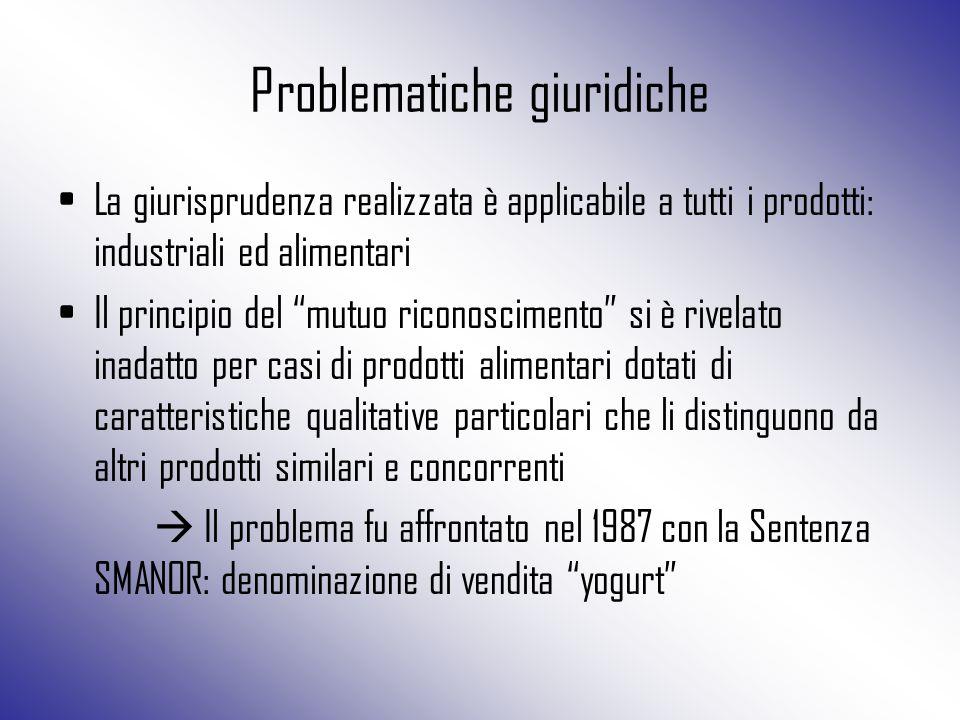 """Problematiche giuridiche La giurisprudenza realizzata è applicabile a tutti i prodotti: industriali ed alimentari Il principio del """"mutuo riconoscimen"""