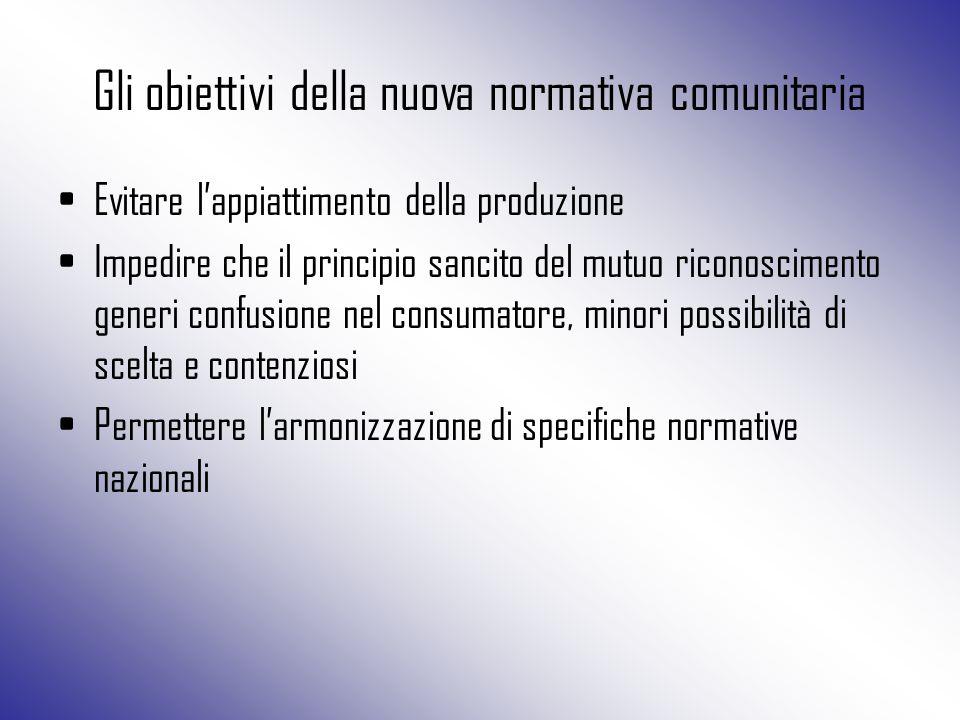 Gli obiettivi della nuova normativa comunitaria Evitare l'appiattimento della produzione Impedire che il principio sancito del mutuo riconoscimento ge