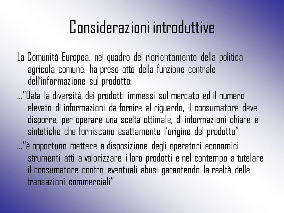 Considerazioni introduttive La Comunità Europea, nel quadro del riorientamento della politica agricola comune, ha preso atto della funzione centrale d