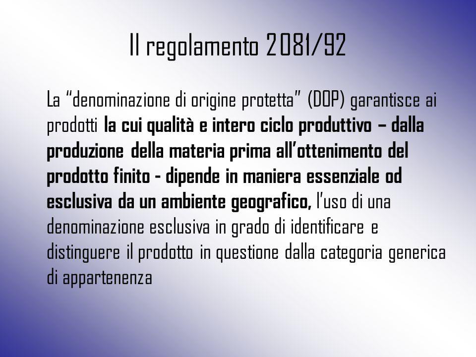 """Il regolamento 2081/92 La """"denominazione di origine protetta"""" (DOP) garantisce ai prodotti la cui qualità e intero ciclo produttivo – dalla produzione"""
