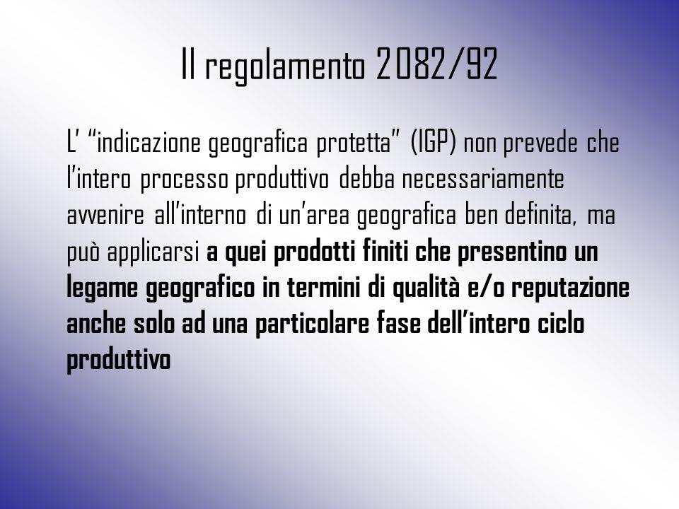 """Il regolamento 2082/92 L' """"indicazione geografica protetta"""" (IGP) non prevede che l'intero processo produttivo debba necessariamente avvenire all'inte"""