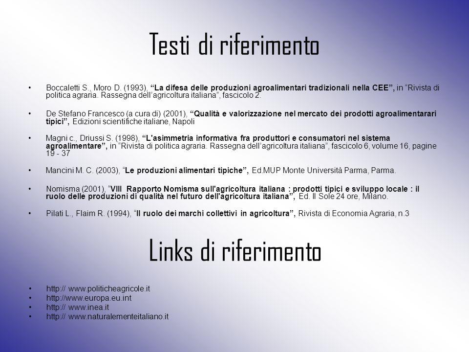 """Testi di riferimento Boccaletti S., Moro D. (1993), """"La difesa delle produzioni agroalimentari tradizionali nella CEE"""", in """"Rivista di politica agrari"""
