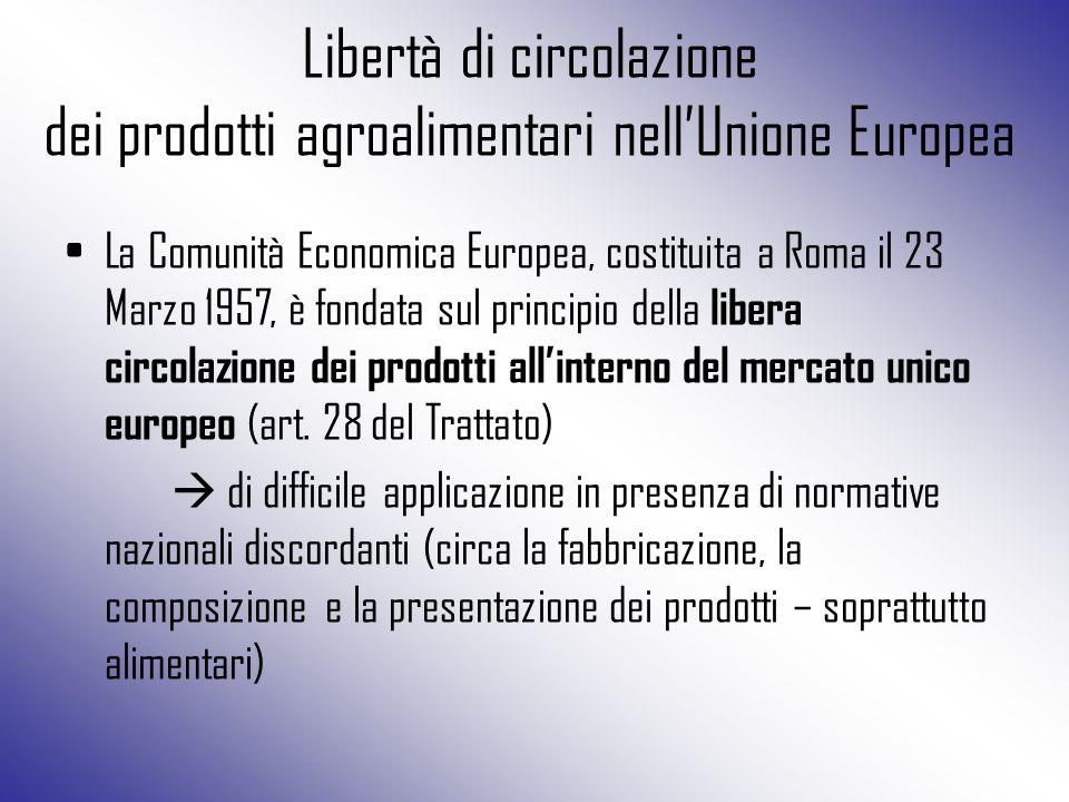 Libertà di circolazione dei prodotti agroalimentari nell'Unione Europea La Comunità Economica Europea, costituita a Roma il 23 Marzo 1957, è fondata s