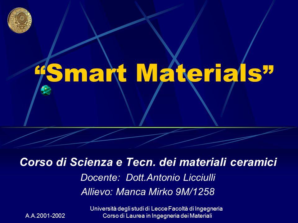 """A.A.2001-2002 Università degli studi di Lecce Facoltà di Ingegneria Corso di Laurea in Ingegneria dei Materiali """" Smart Materials """" Corso di Scienza e"""