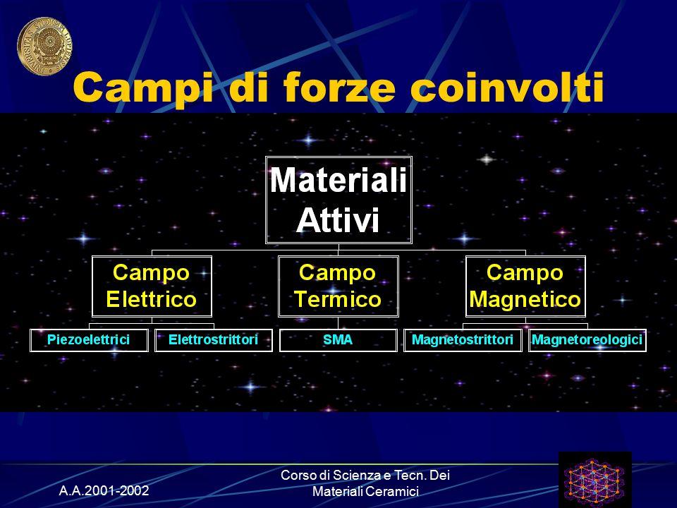 A.A.2001-2002 Corso di Scienza e Tecn. Dei Materiali Ceramici Campi di forze coinvolti