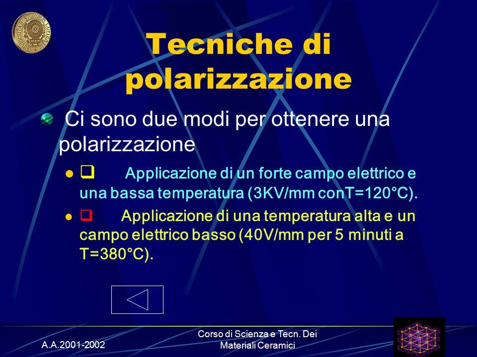 A.A.2001-2002 Corso di Scienza e Tecn. Dei Materiali Ceramici Tecniche di polarizzazione Ci sono due modi per ottenere una polarizzazione  Applicazio