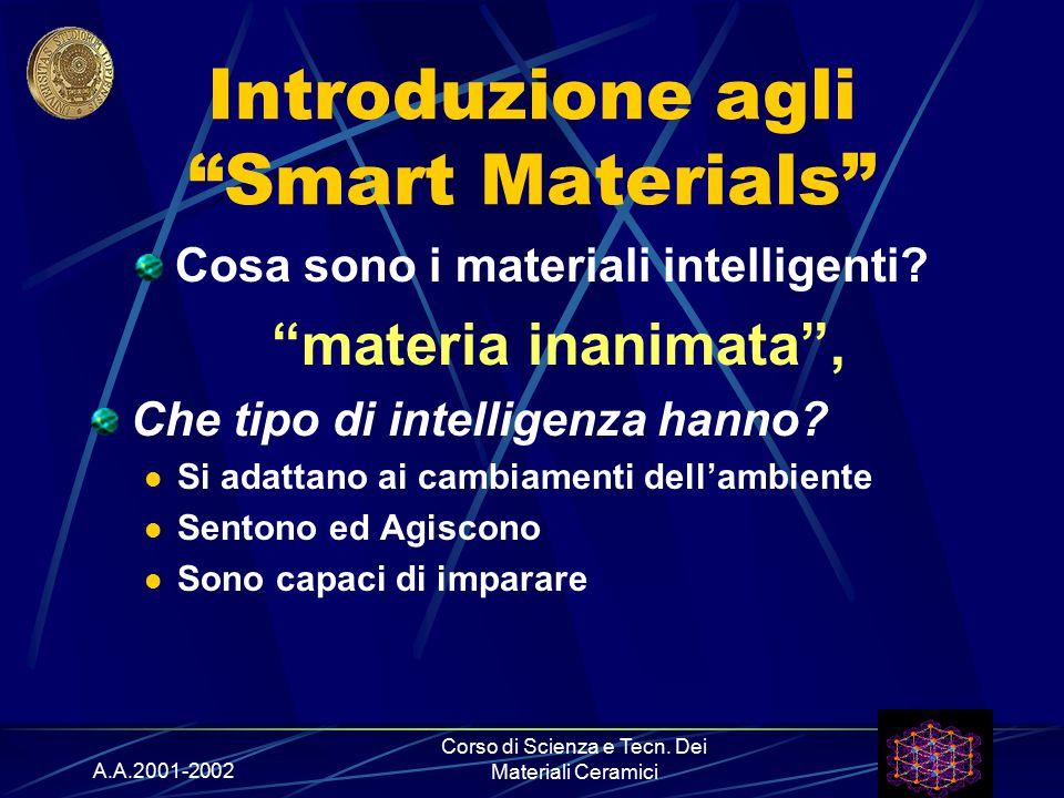 """A.A.2001-2002 Corso di Scienza e Tecn. Dei Materiali Ceramici Introduzione agli """"Smart Materials"""" Cosa sono i materiali intelligenti? """"materia inanima"""