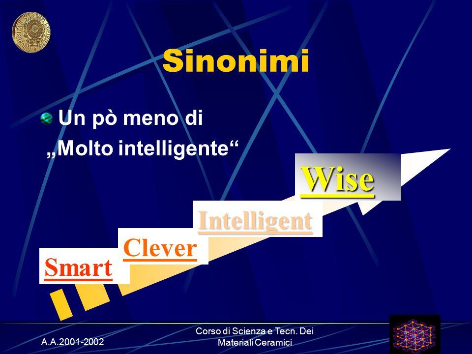 """A.A.2001-2002 Corso di Scienza e Tecn. Dei Materiali Ceramici Sinonimi Un pò meno di """"Molto intelligente"""" Smart Clever Intelligent Wise"""
