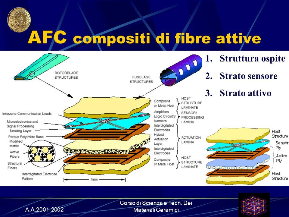 A.A.2001-2002 Corso di Scienza e Tecn. Dei Materiali Ceramici AFC compositi di fibre attive 1.Struttura ospite 2.Strato sensore 3.Strato attivo