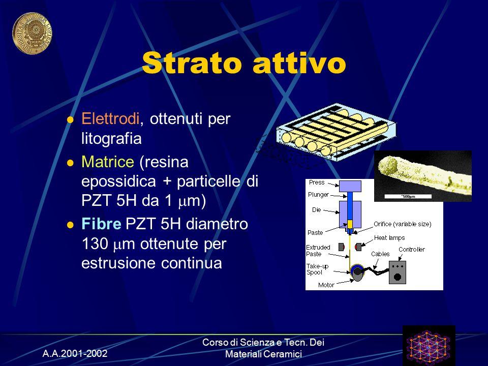 A.A.2001-2002 Corso di Scienza e Tecn. Dei Materiali Ceramici Strato attivo Elettrodi, ottenuti per litografia Matrice (resina epossidica + particelle