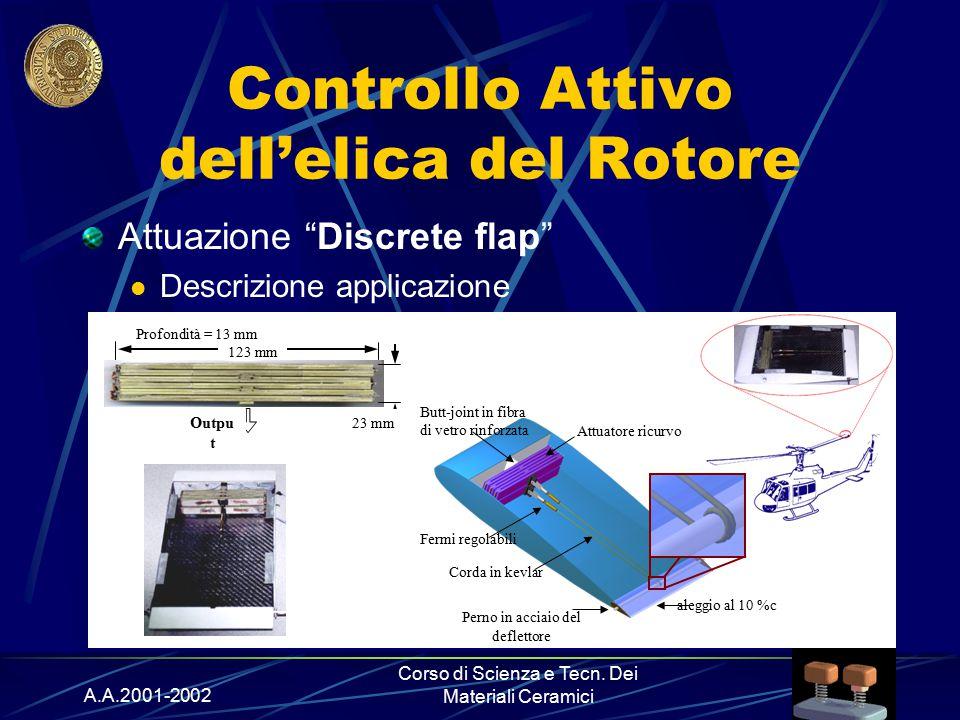 """A.A.2001-2002 Corso di Scienza e Tecn. Dei Materiali Ceramici Controllo Attivo dell'elica del Rotore Attuazione """"Discrete flap"""" Descrizione applicazio"""