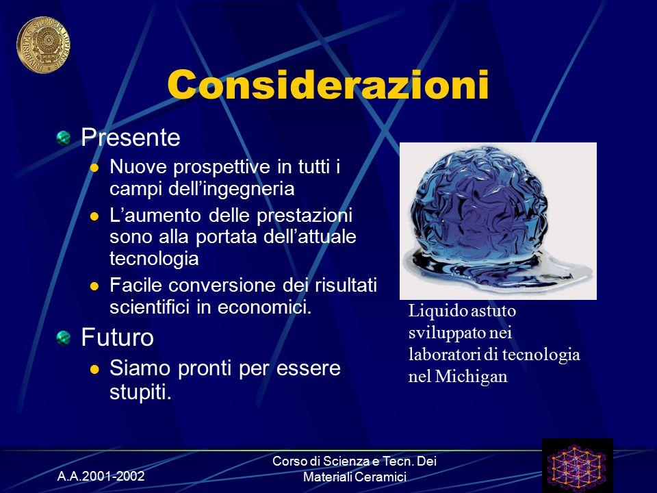 A.A.2001-2002 Corso di Scienza e Tecn. Dei Materiali Ceramici Considerazioni Presente Nuove prospettive in tutti i campi dell'ingegneria L'aumento del
