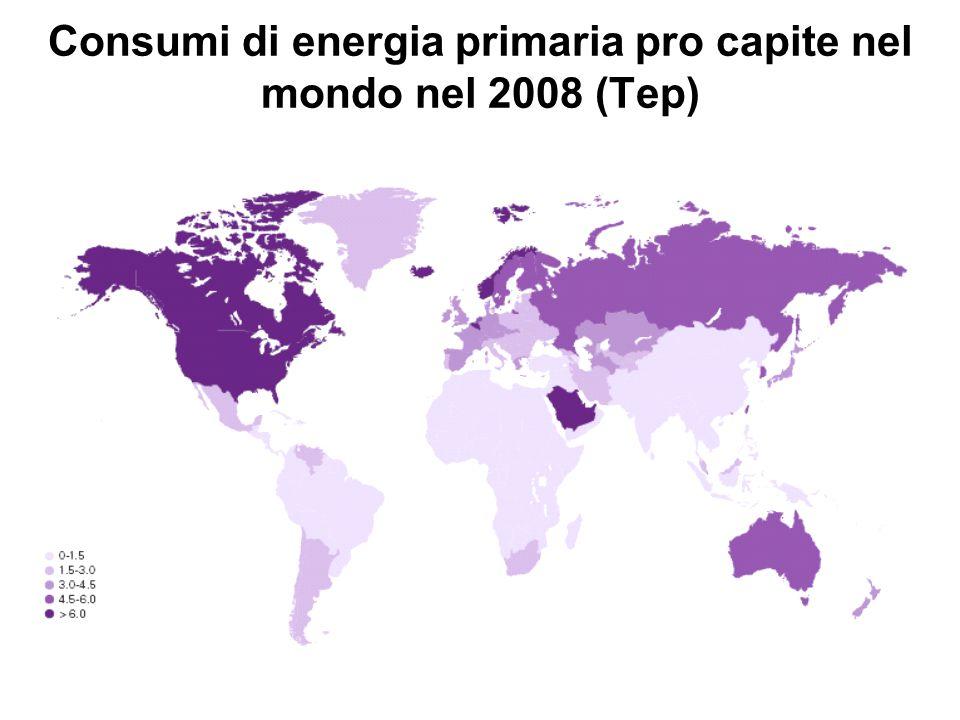 Consumi di energia primaria pro capite nel mondo nel 2008 (Tep)