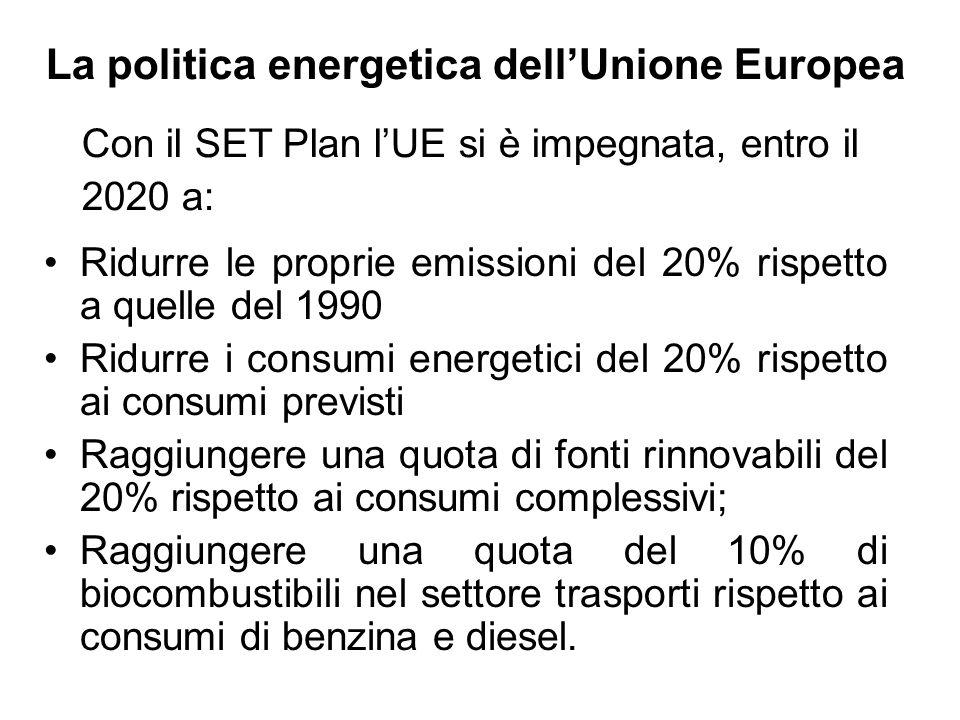La politica energetica dell'Unione Europea Ridurre le proprie emissioni del 20% rispetto a quelle del 1990 Ridurre i consumi energetici del 20% rispet