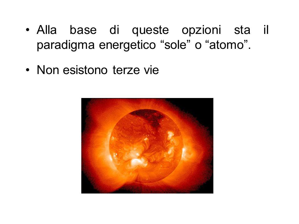 """Alla base di queste opzioni sta il paradigma energetico """"sole"""" o """"atomo"""". Non esistono terze vie"""