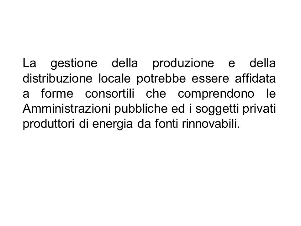La gestione della produzione e della distribuzione locale potrebbe essere affidata a forme consortili che comprendono le Amministrazioni pubbliche ed